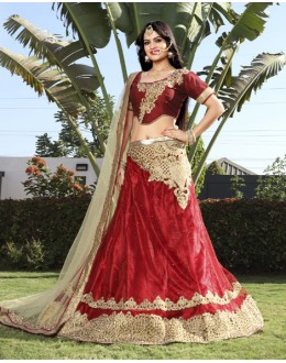 Wedding Wear Red Net Lehenga Choli - 19752
