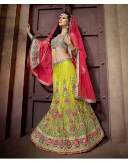 Lime Green Colour Net Embroidery Lehenga Choli - 19756