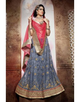 Traditional Grey Net Lehenga Choli - 19764