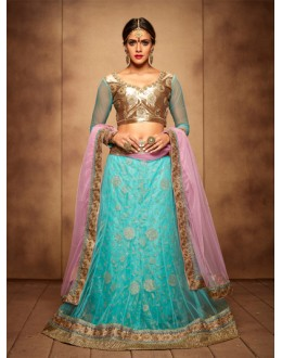 Festival Wear Firozy And Baby Pink Designer Bridal Lehenga Choli - 19767
