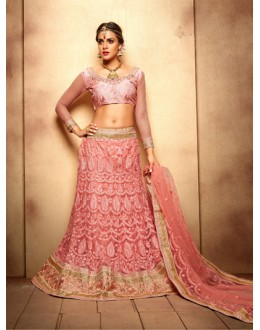 Traditional Wear Peach Designer Bridal Lehenga Choli - 19778