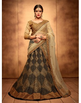 Party Wear Navy Blue Bridal Lehenga Choli - 19780