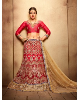 Wedding Wear Royal Red Designer Bridal Lehenga Choli - 19781