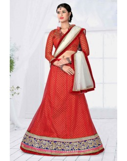 Party Wear Red Designer Net Lehenga Choli - 19786