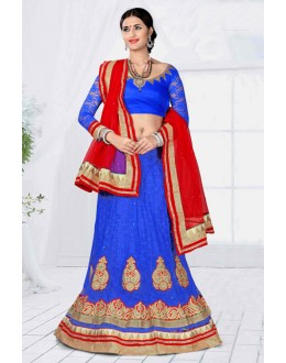 Wedding Wear Blue Designer Net Lehenga Choli - 19787