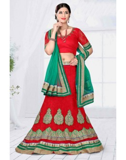 Wedding Wear Red Designer Net Lehenga Choli - 19791