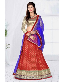 Festival Wear Red Designer Net Lehenga Choli - 19796