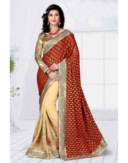 Wedding Wear Maroon Georgette Designer Saree  - 19799