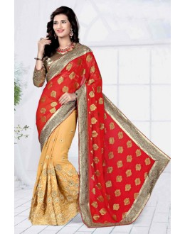 Festival  Wear Gold Georgette Designer Saree  - 19801