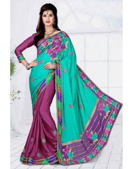 Wedding Wear Green Georgette Designer Saree  - 19804