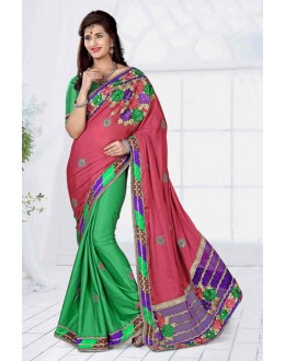 Party Wear Pink Georgette Designer Saree  - 19805