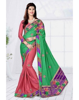Casual Wear Green Georgette Designer Saree  - 19806