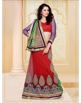 Party Wear Red Designer Lehenga Choli - 19808