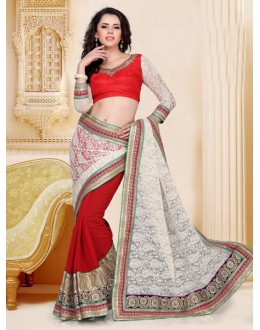 Festival Wear Red Designer Saree  - 19814