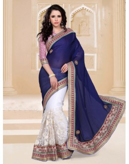 Wedding Wear Blue Designer Saree  - 19815