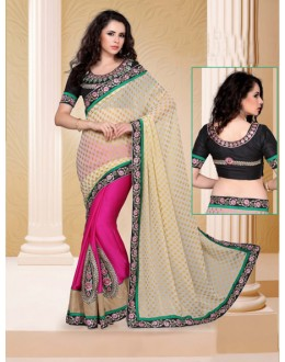 Party Wear Beige Designer Saree  - 19816