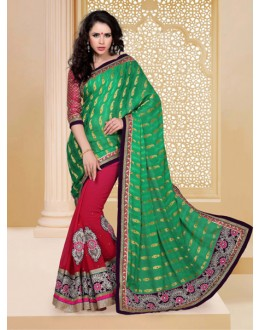 Festival Wear Green Designer Saree  - 19817