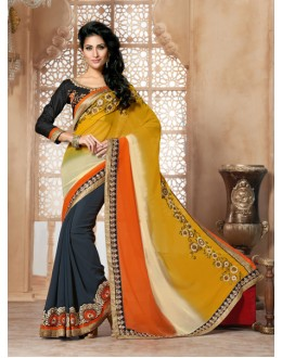 Fastival Wear Black Georgette Designer Saree  - 19845