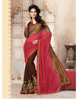 Party Wear Brown Georgette Designer Saree  - 19846