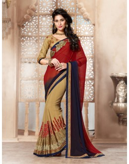Wedding Wear Beige Georgette Designer Saree  - 19848