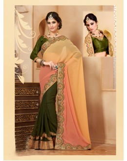 Festival Wear Green Georgette Designer Saree  - 19849