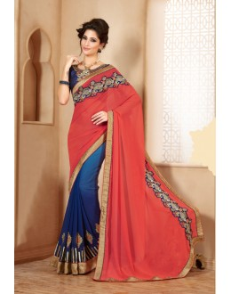 Casual Wear Blue Georgette Designer Saree  - 19851