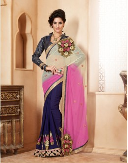 Party  Wear Black Georgette Designer Saree  - 19853