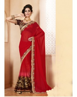 Festival Wear Red Georgette Designer Saree  - 19855