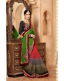 Ethanic Wear Green Georgette Designer Saree  - 19856