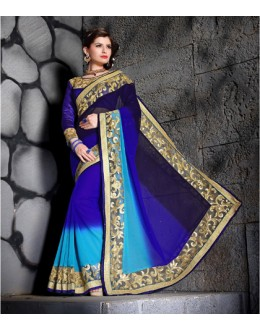 Festival Wear Blue Designer Saree  - 19857