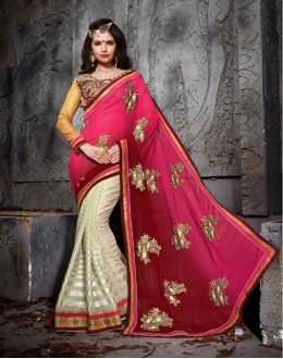 Party Wear Pink Designer Saree  - 19858
