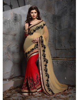 Party Wear Beige Designer Saree  - 19859