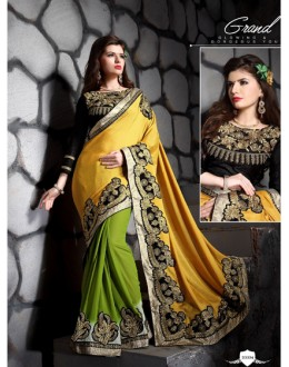 Wedding Wear Yellow Designer Saree  - 19860