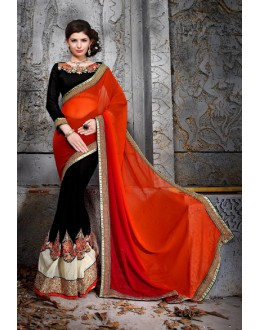 Wedding Wear Red Designer Saree  - 19864