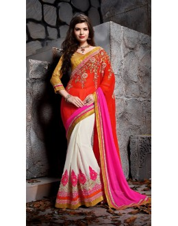 Festival Wear Red Designer Saree  - 19865