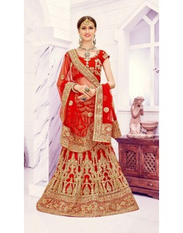 Wedding Wear Red Designer Bridal Lehenga Choli - 19873