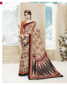 Casual Wear Multi Colour Printed Saree  - 19881