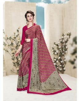 Casual Wear Multi Colour Printed Saree  - 19886