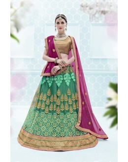 Party Wear Shyn Green Designer Net Lehenga Choli - 19903