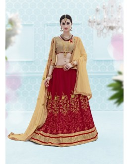Weadding Wear Maroon Designer Net Lehenga Choli - 19910