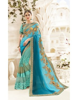 Wedding Wear Light Blue Georgette Saree  - 19994
