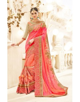 Festival Wear Orange Jacquard & Chiffon Saree  - 19995