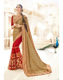 Party  Wear Light Brown & Maroon Georgette Saree  - 19996