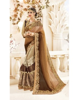 Wedding Wear Brown & Beige Georgette Saree  - 20002