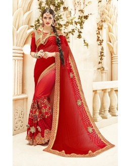 Wedding Wear Red & Orange Georgette Saree  - 20003