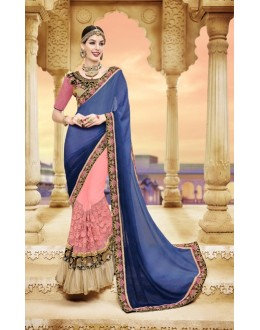 Festival Wear Pink & Blue Pure Georgette Saree  - 20004