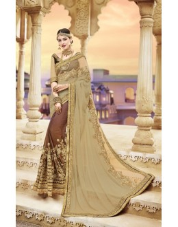 Traditional Wear Beige & Brown Georgette Saree  - 20005