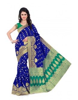 Festival Wear Blue & Green  Banarasi Silk Saree  - 20012