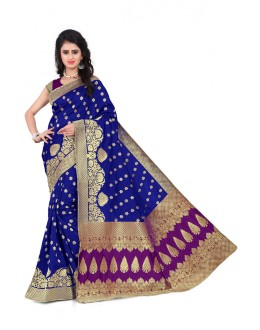 Wedding Wear Blue & Dark Pink  Banarasi Silk Saree  - 20013