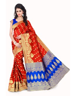 Traditional Wear Orange & Blue Banarasi Silk Saree  - 20014